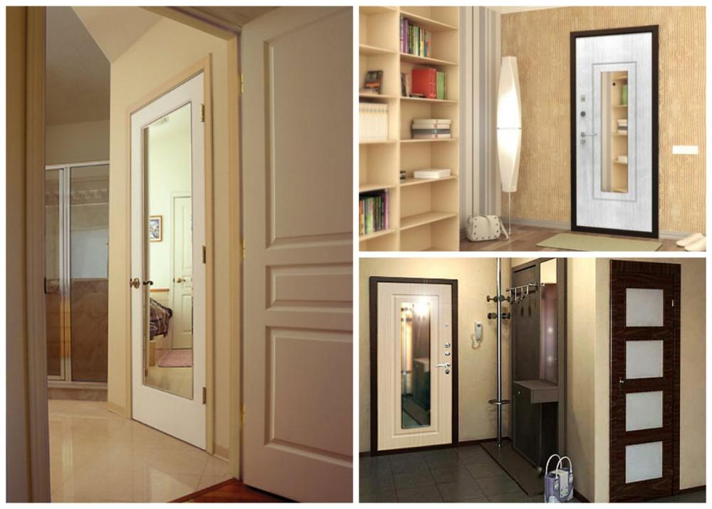 Двери с зеркалом в интерьере