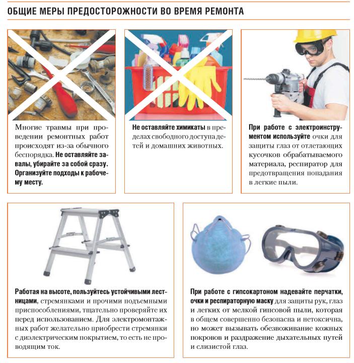 Общие меры предосторожности во время ремонта